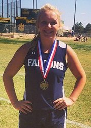 sadie rogers with track medals