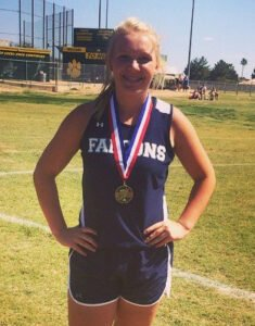 sadie with track medals