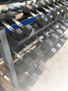 weights in a workout gym